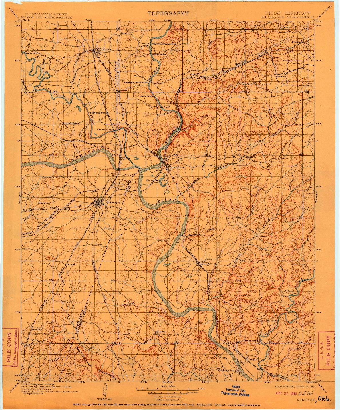USGS 1:125000-SCALE QUADRANGLE FOR MUSKOGEE, IT 1901