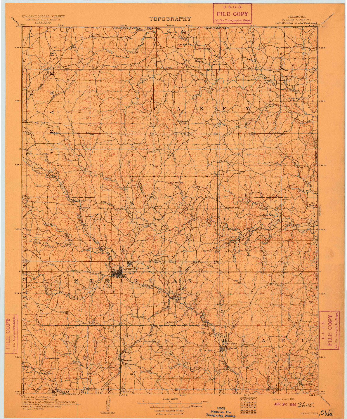 USGS 1:125000-SCALE QUADRANGLE FOR PAWHUSKA, OK 1910