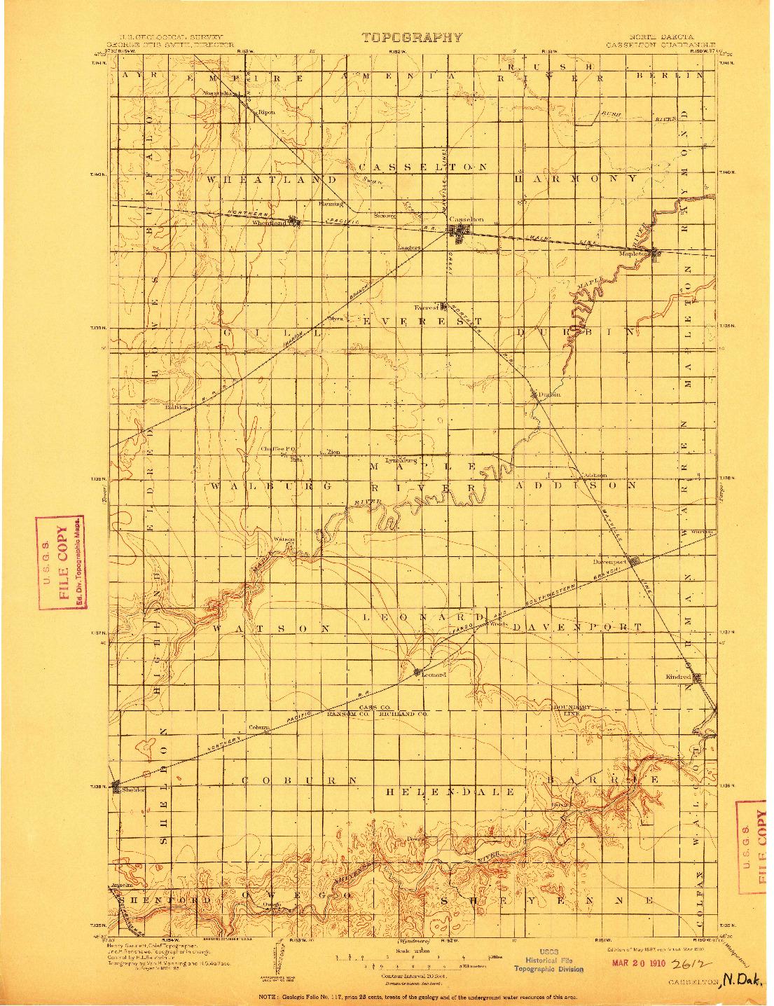 USGS 1:125000-SCALE QUADRANGLE FOR CASSELTON, ND 1897
