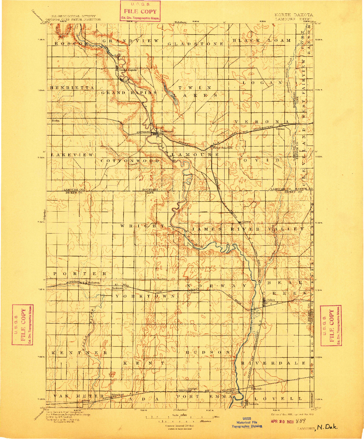 USGS 1:125000-SCALE QUADRANGLE FOR LAMOURE, ND 1895