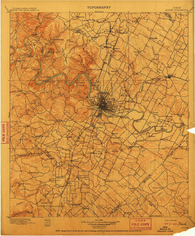 USGS 1:125000-SCALE QUADRANGLE FOR AUSTIN, TX 1910