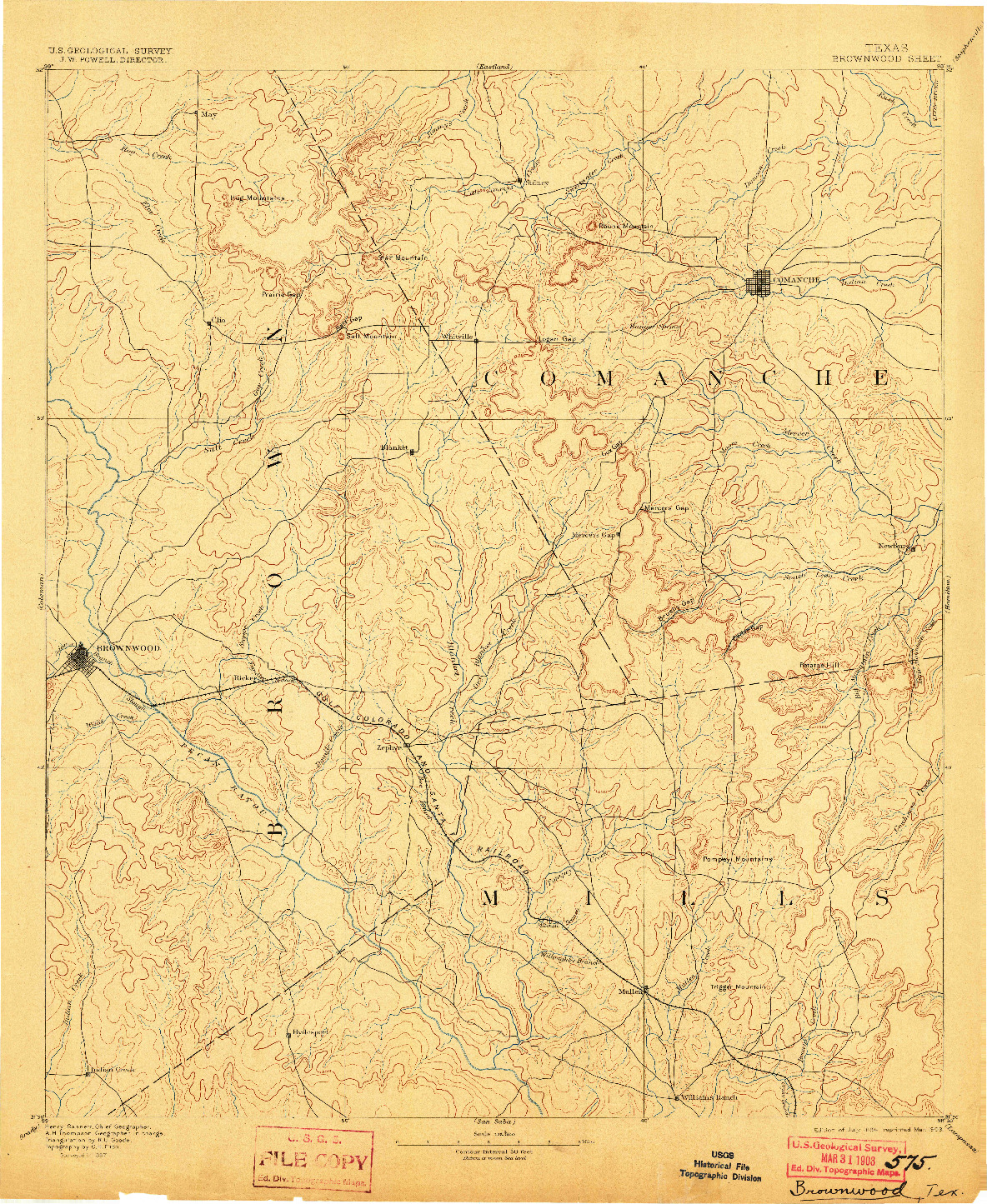 USGS 1:125000-SCALE QUADRANGLE FOR BROWNWOOD, TX 1894