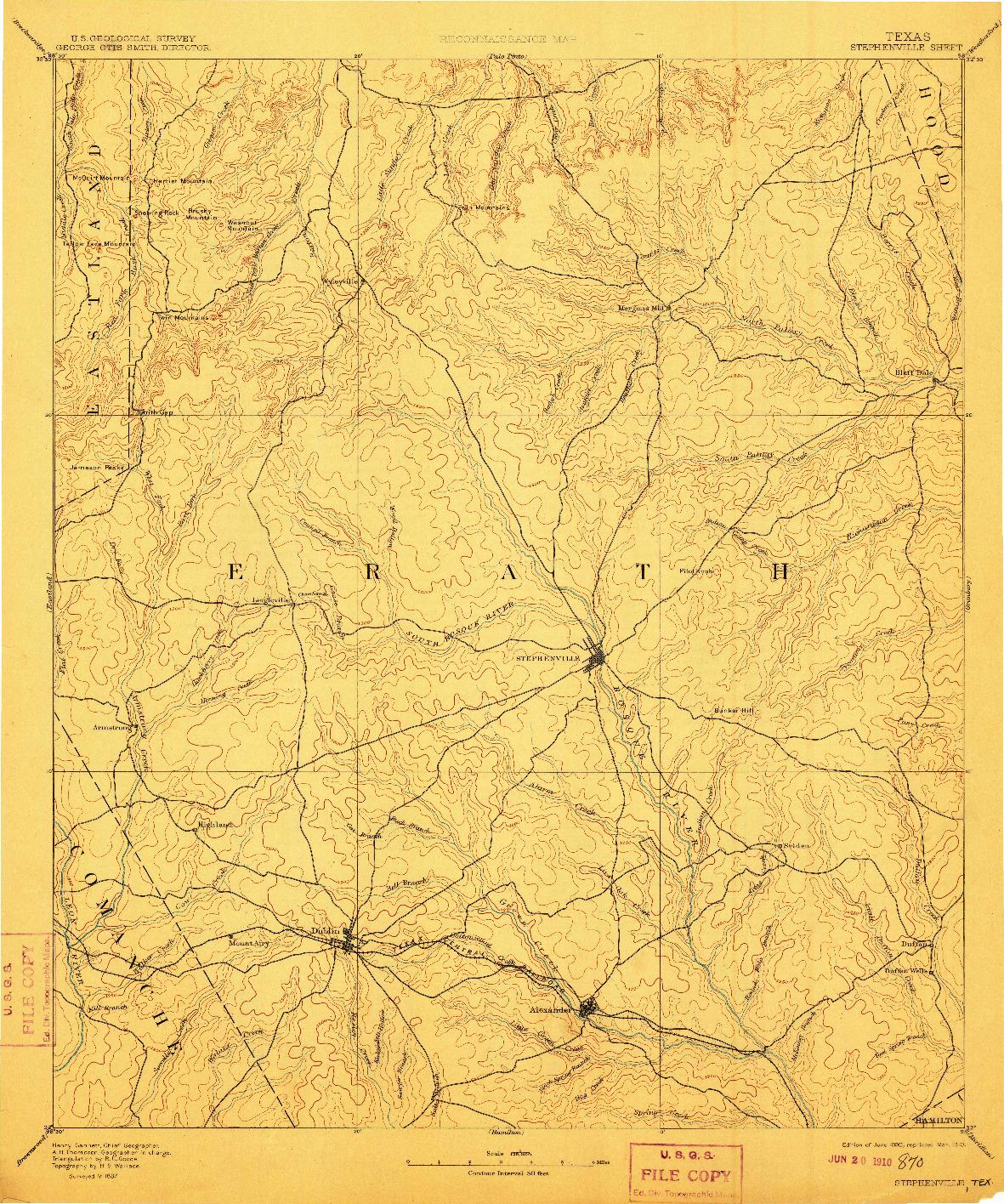 USGS 1:125000-SCALE QUADRANGLE FOR STEPHENVILLE, TX 1890