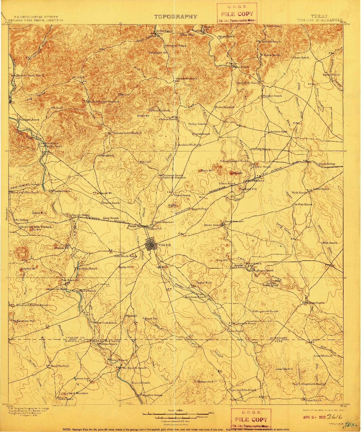 USGS 1:125000-SCALE QUADRANGLE FOR UVALDE, TX 1898
