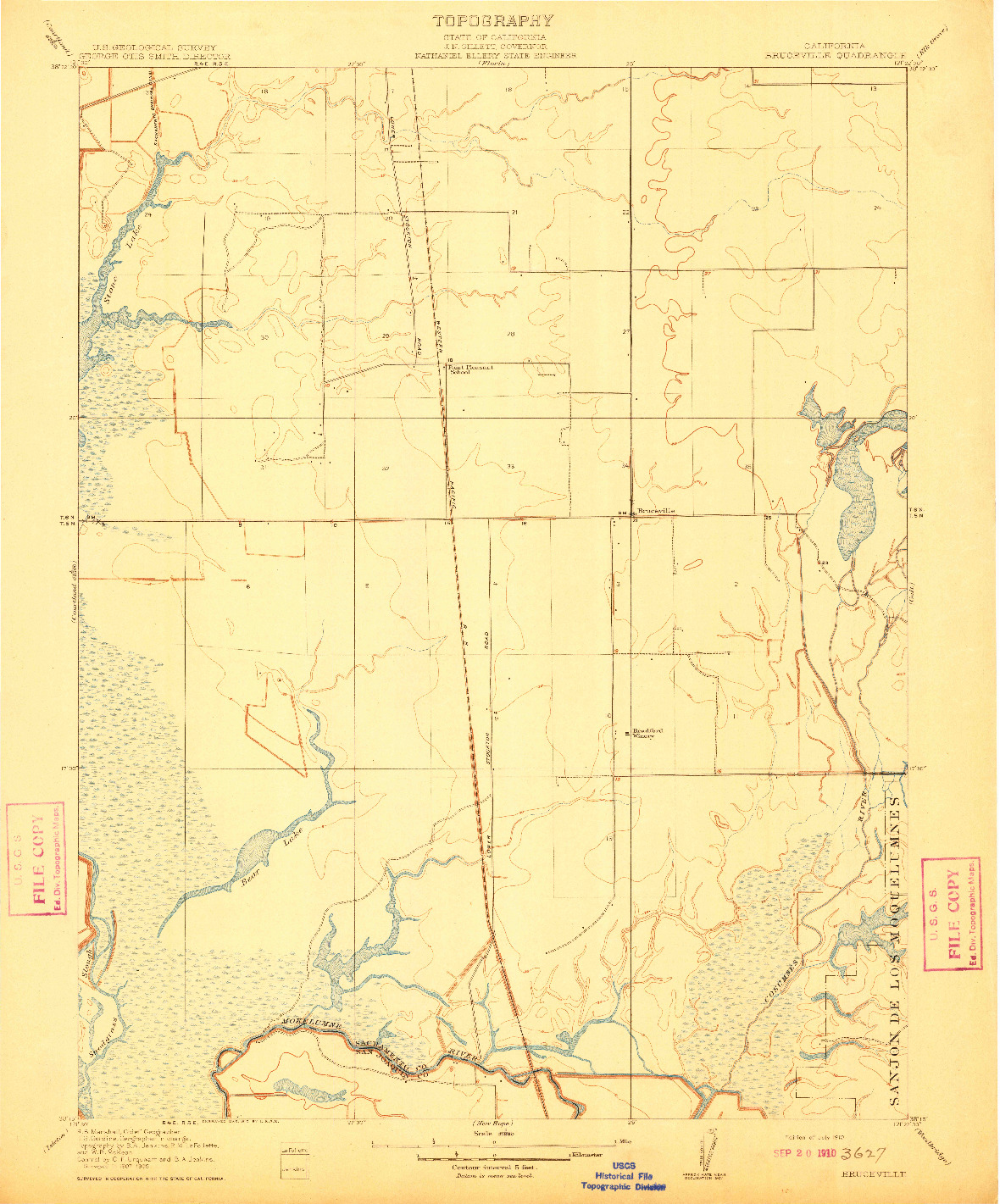 USGS 1:31680-SCALE QUADRANGLE FOR BRUCEVILLE, CA 1910