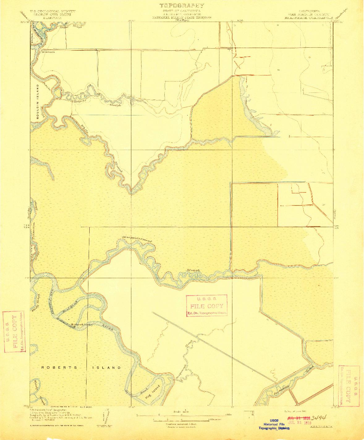 USGS 1:31680-SCALE QUADRANGLE FOR HEADREACH, CA 1910
