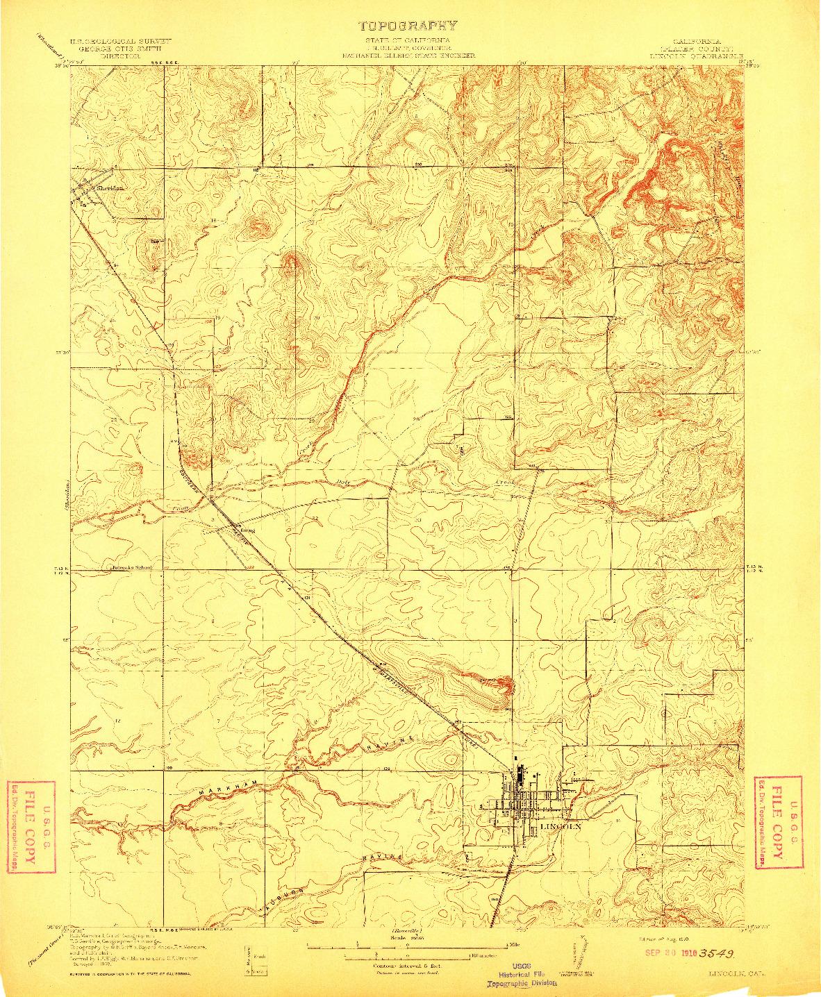 USGS 1:31680-SCALE QUADRANGLE FOR LINCOLN, CA 1910