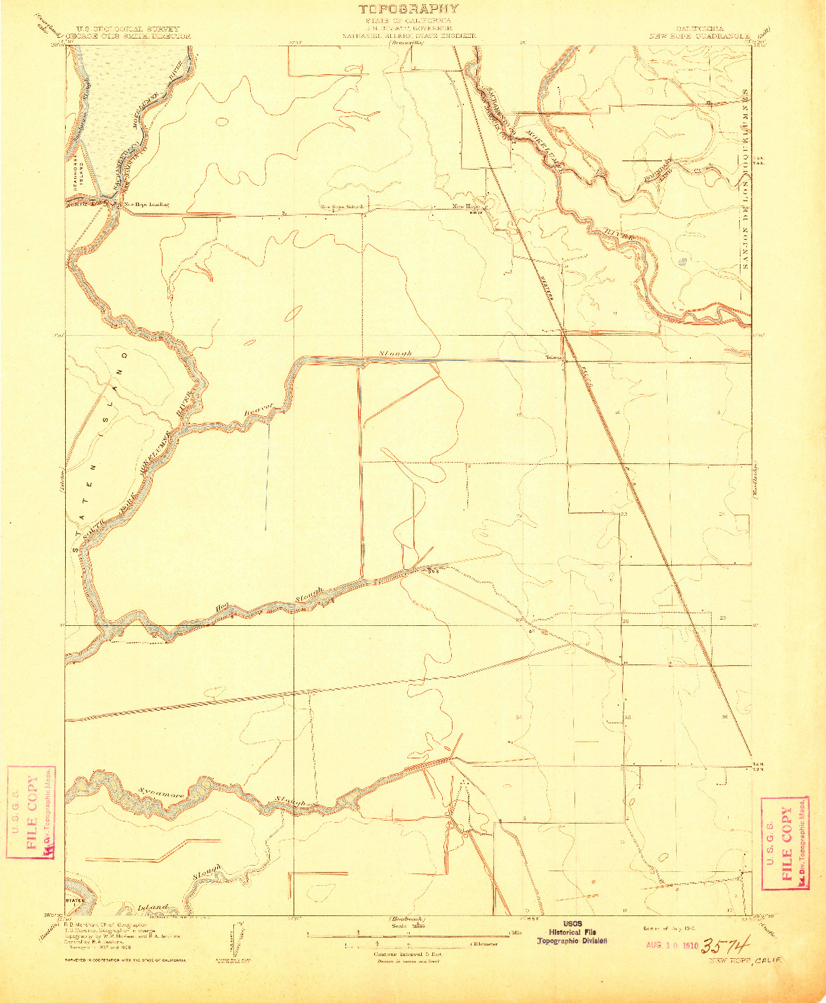 USGS 1:31680-SCALE QUADRANGLE FOR NEW HOPE, CA 1910