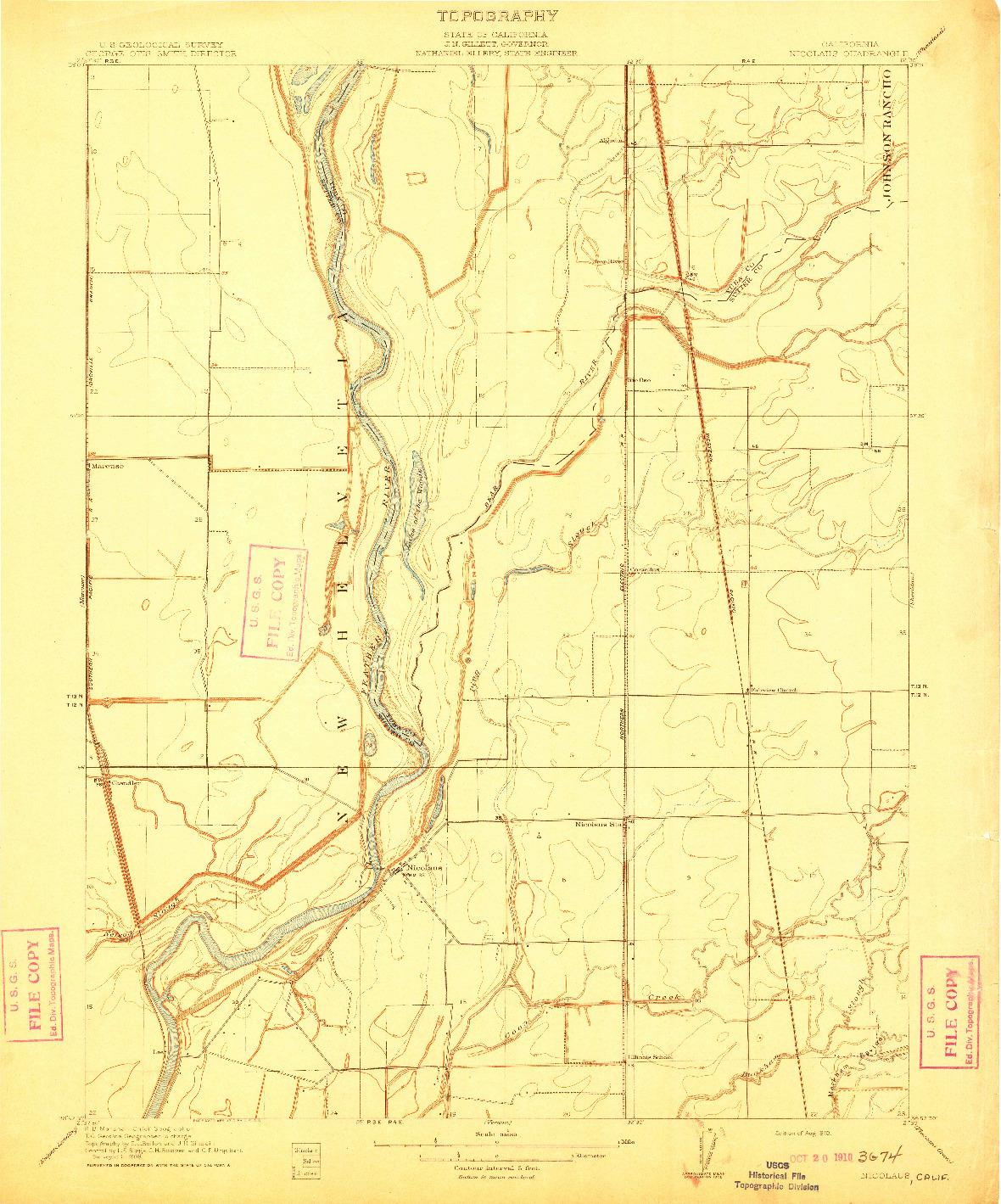 USGS 1:31680-SCALE QUADRANGLE FOR NICOLAUS, CA 1910