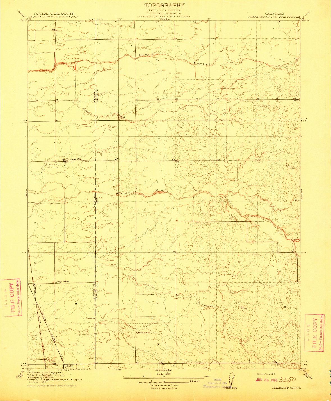 USGS 1:31680-SCALE QUADRANGLE FOR PLEASANT GROVE, CA 1910