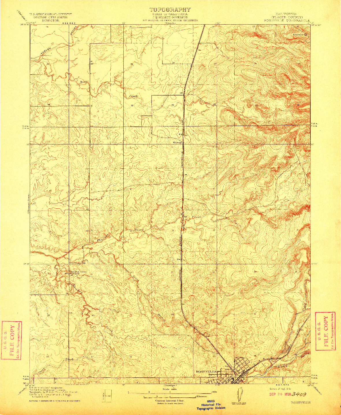 USGS 1:31680-SCALE QUADRANGLE FOR ROSEVILLE, CA 1910