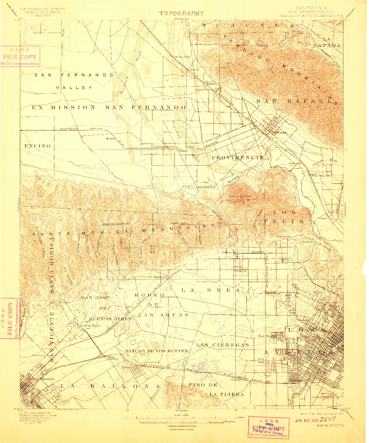 USGS 1:62500-SCALE QUADRANGLE FOR SANTA MONICA, CA 1902