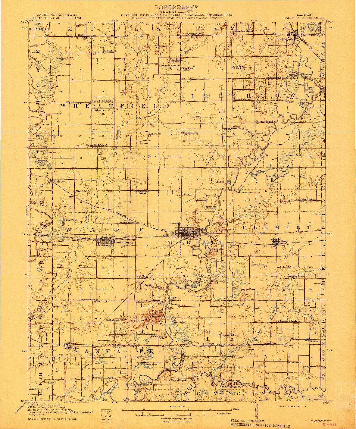 USGS 1:62500-SCALE QUADRANGLE FOR CARLYLE, IL 1910