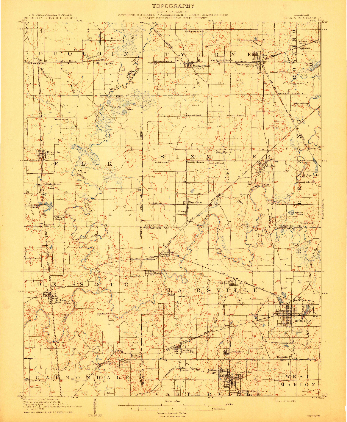 USGS 1:62500-SCALE QUADRANGLE FOR HERRIN, IL 1910