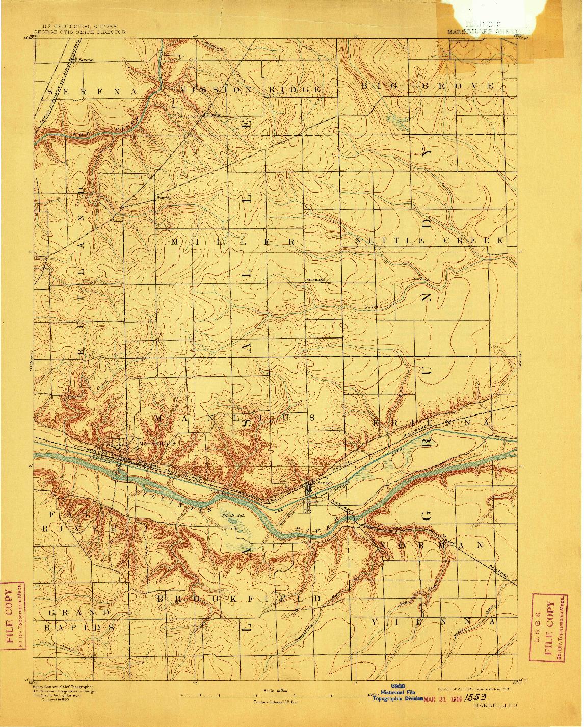 USGS 1:62500-SCALE QUADRANGLE FOR MARSEILLES, IL 1892