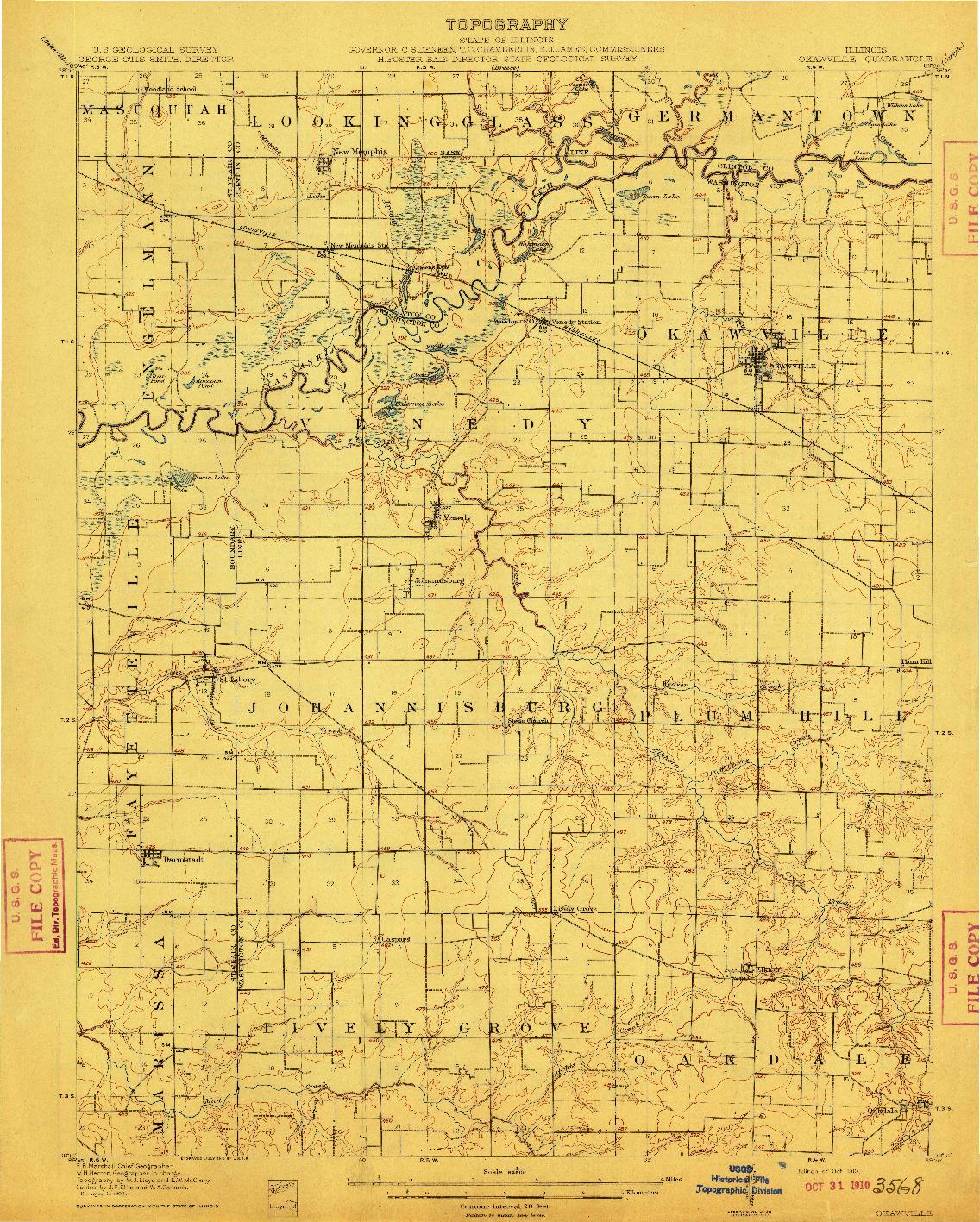 USGS 1:62500-SCALE QUADRANGLE FOR OKAWVILLE, IL 1910