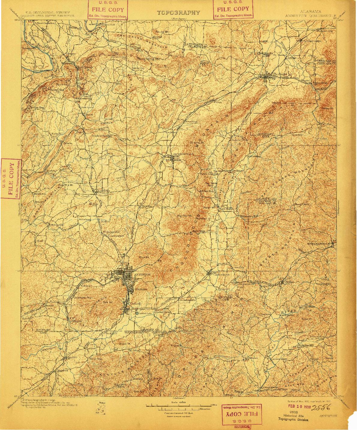 USGS 1:125000-SCALE QUADRANGLE FOR ANNISTON, AL 1900