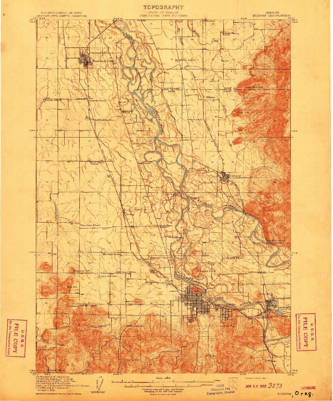 USGS 1:62500-SCALE QUADRANGLE FOR EUGENE, OR 1910