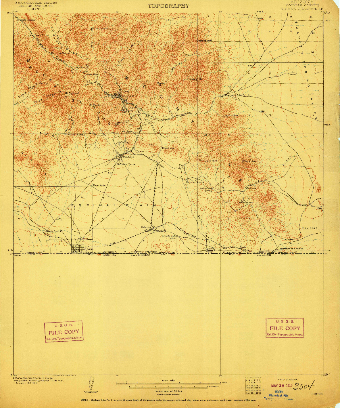 USGS 1:62500-SCALE QUADRANGLE FOR BISBEE, AZ 1910