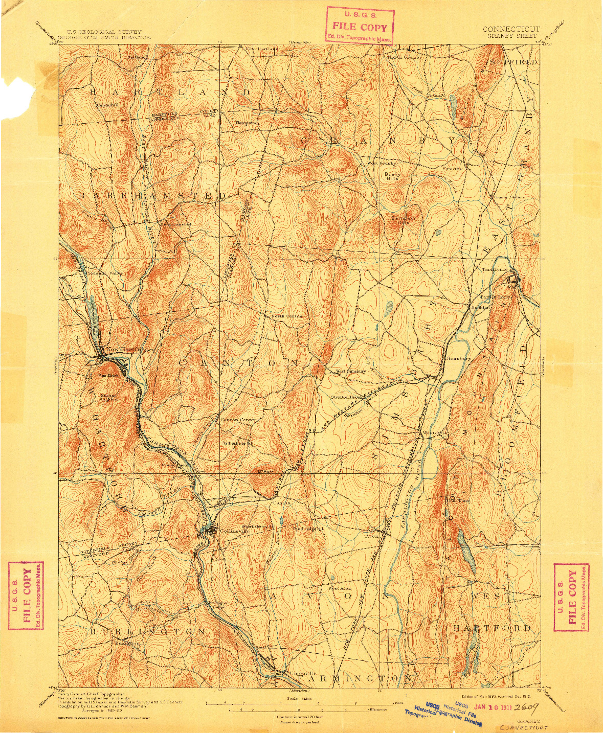 USGS 1:62500-SCALE QUADRANGLE FOR GRANBY, CT 1892