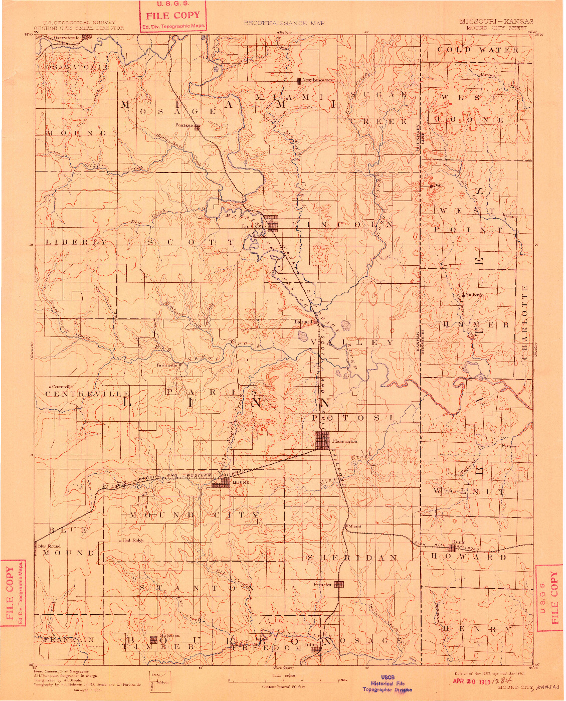 USGS 1:125000-SCALE QUADRANGLE FOR MOUND CITY, MO 1893