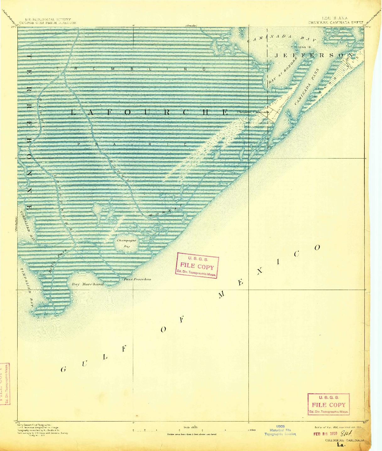 USGS 1:62500-SCALE QUADRANGLE FOR CHENIERE CAMINADA, LA 1892