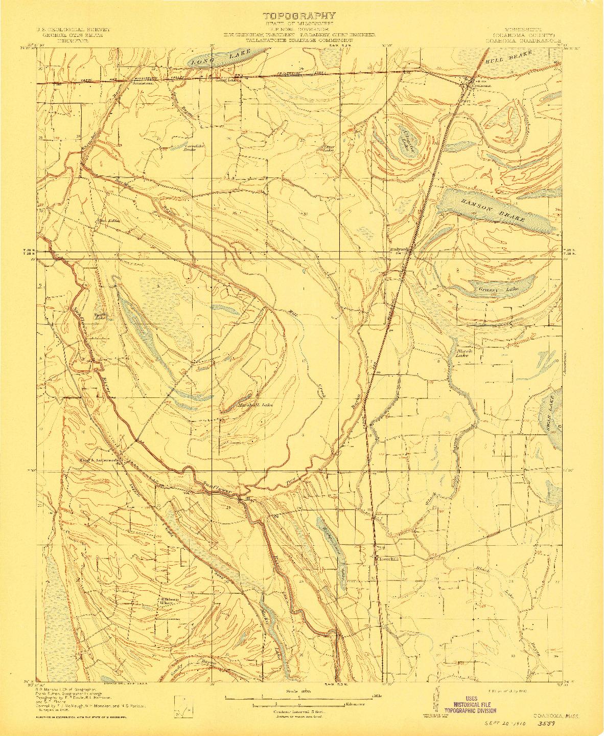 USGS 1:31680-SCALE QUADRANGLE FOR COAHOMA, MS 1910