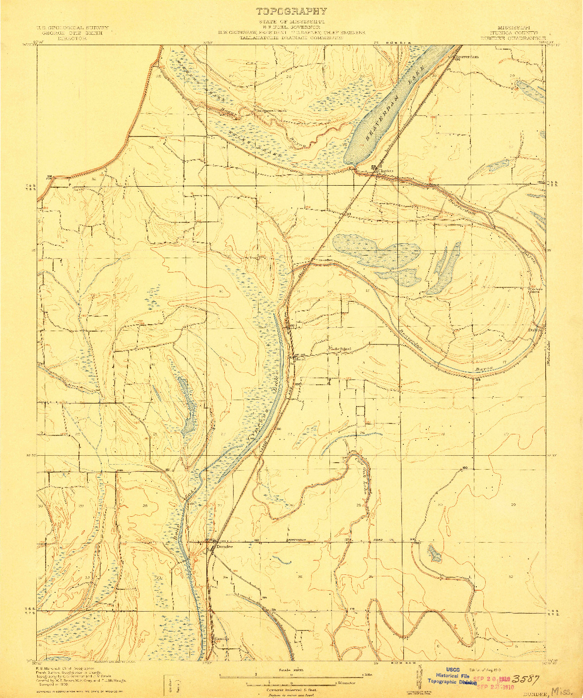 USGS 1:31680-SCALE QUADRANGLE FOR DUNDEE, MS 1910