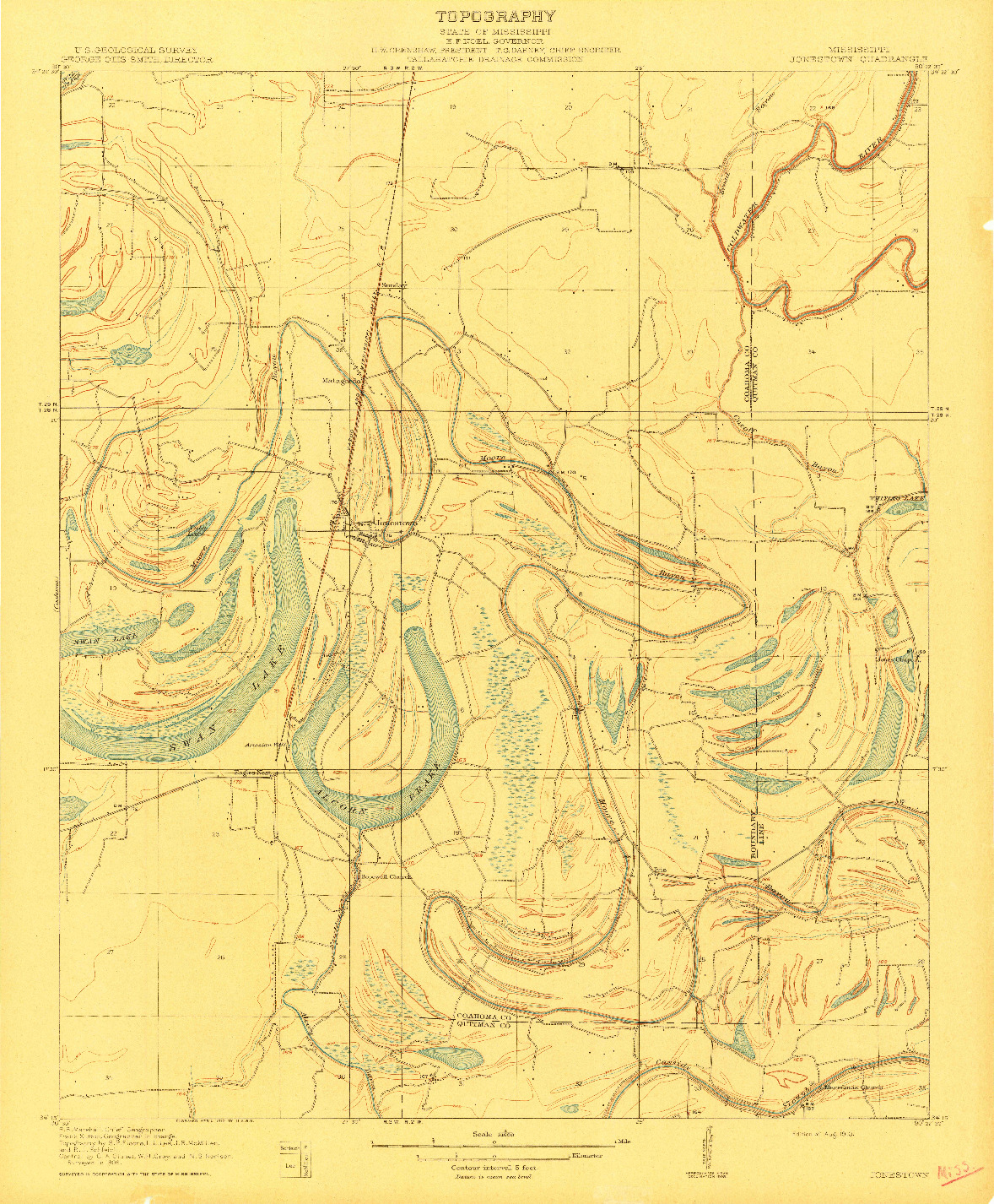 USGS 1:31680-SCALE QUADRANGLE FOR JONESTOWN, MS 1910