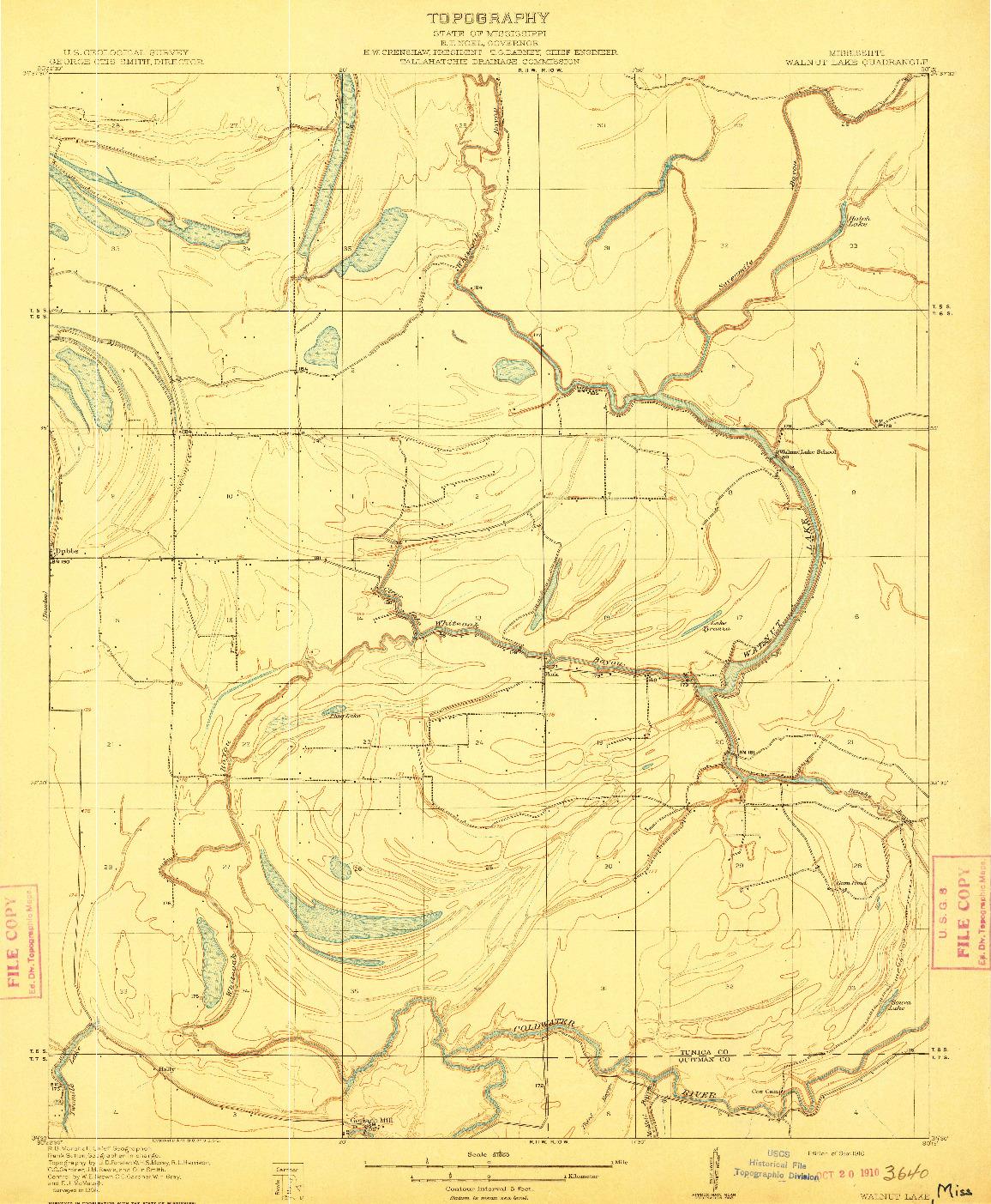 USGS 1:31680-SCALE QUADRANGLE FOR WALNUT LAKE, MS 1910