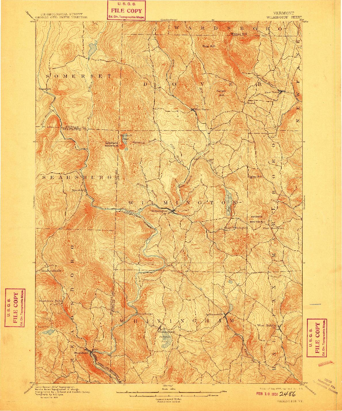 USGS 1:62500-SCALE QUADRANGLE FOR WILMINGTON, VT 1889