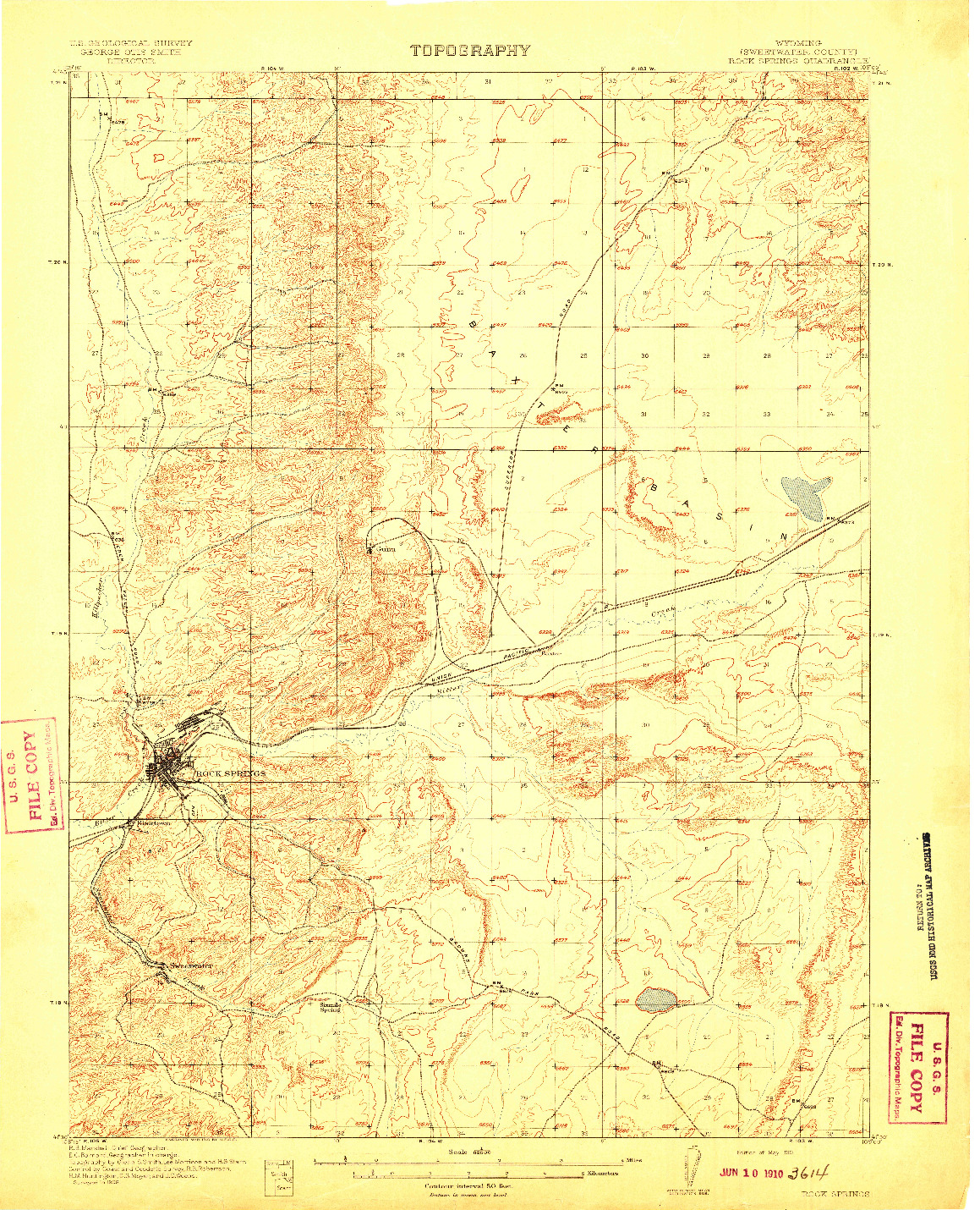USGS 1:62500-SCALE QUADRANGLE FOR ROCK SPRINGS, WY 1910