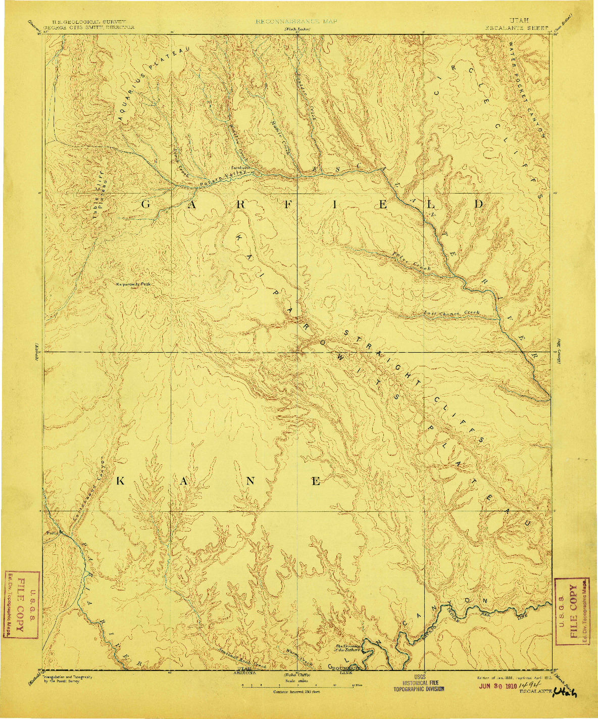 USGS 1:250000-SCALE QUADRANGLE FOR ESCALANTE, UT 1886