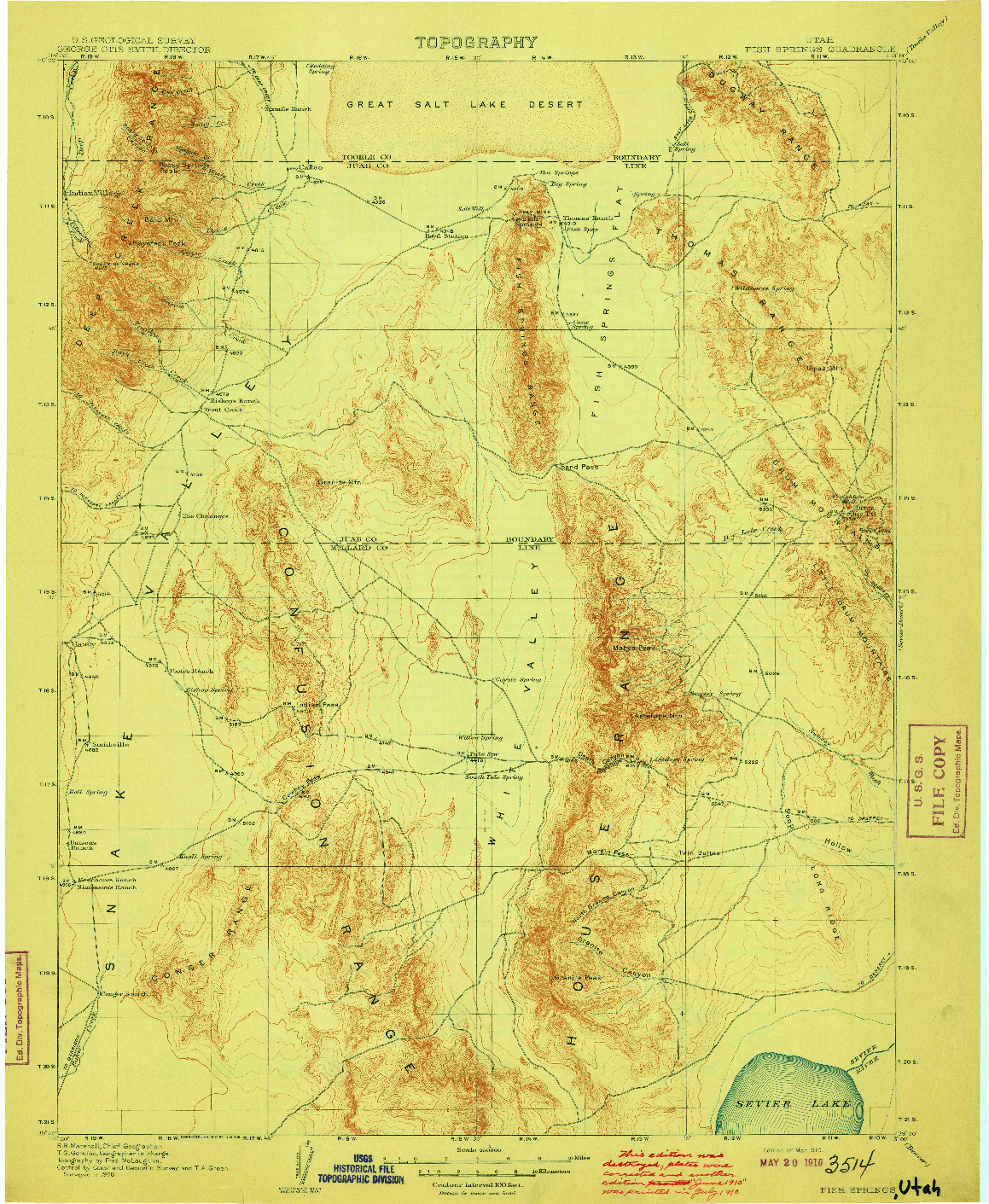 USGS 1:250000-SCALE QUADRANGLE FOR FISH SPRINGS, UT 1910