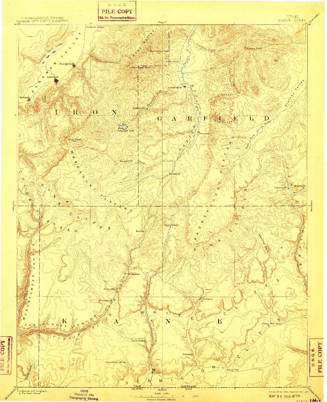 USGS 1:250000-SCALE QUADRANGLE FOR KANAB, UT 1886