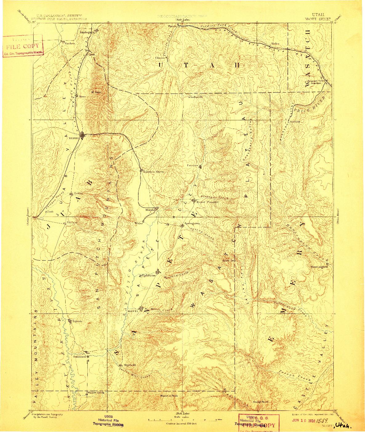 USGS 1:250000-SCALE QUADRANGLE FOR MANTI, UT 1885