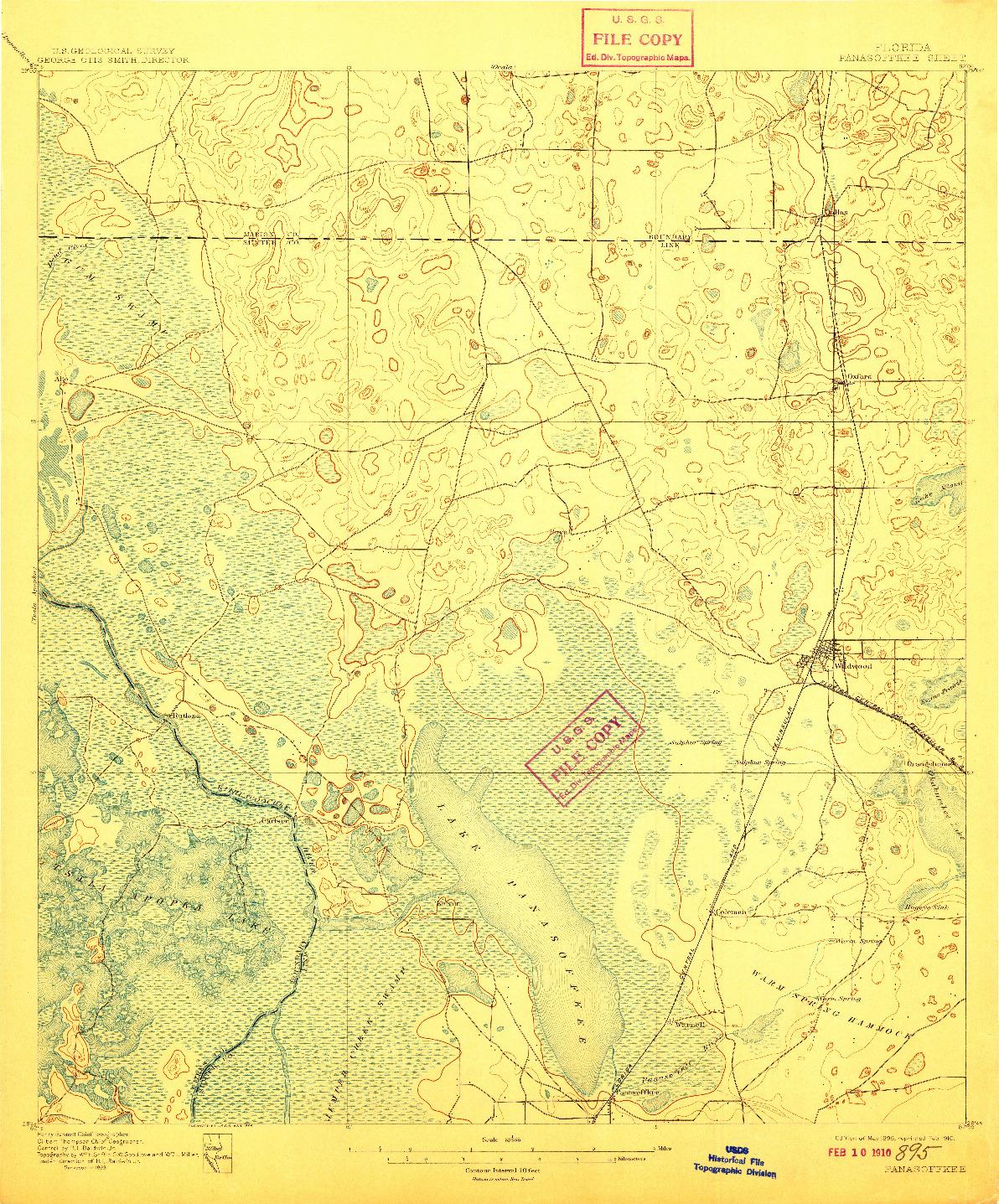 USGS 1:62500-SCALE QUADRANGLE FOR PANASOFFKEE, FL 1895