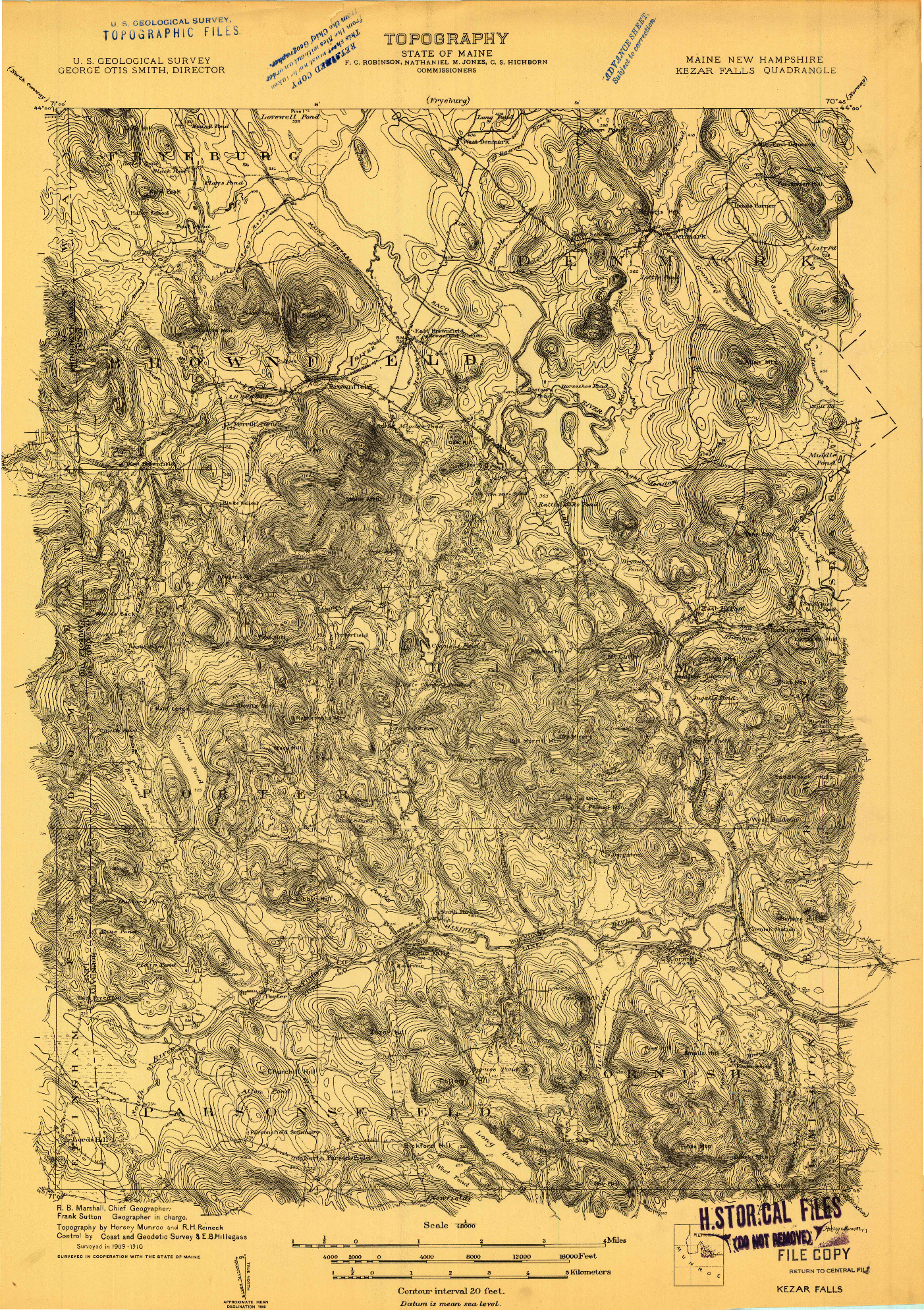 USGS 1:48000-SCALE QUADRANGLE FOR KEZAR FALLS, ME 1910