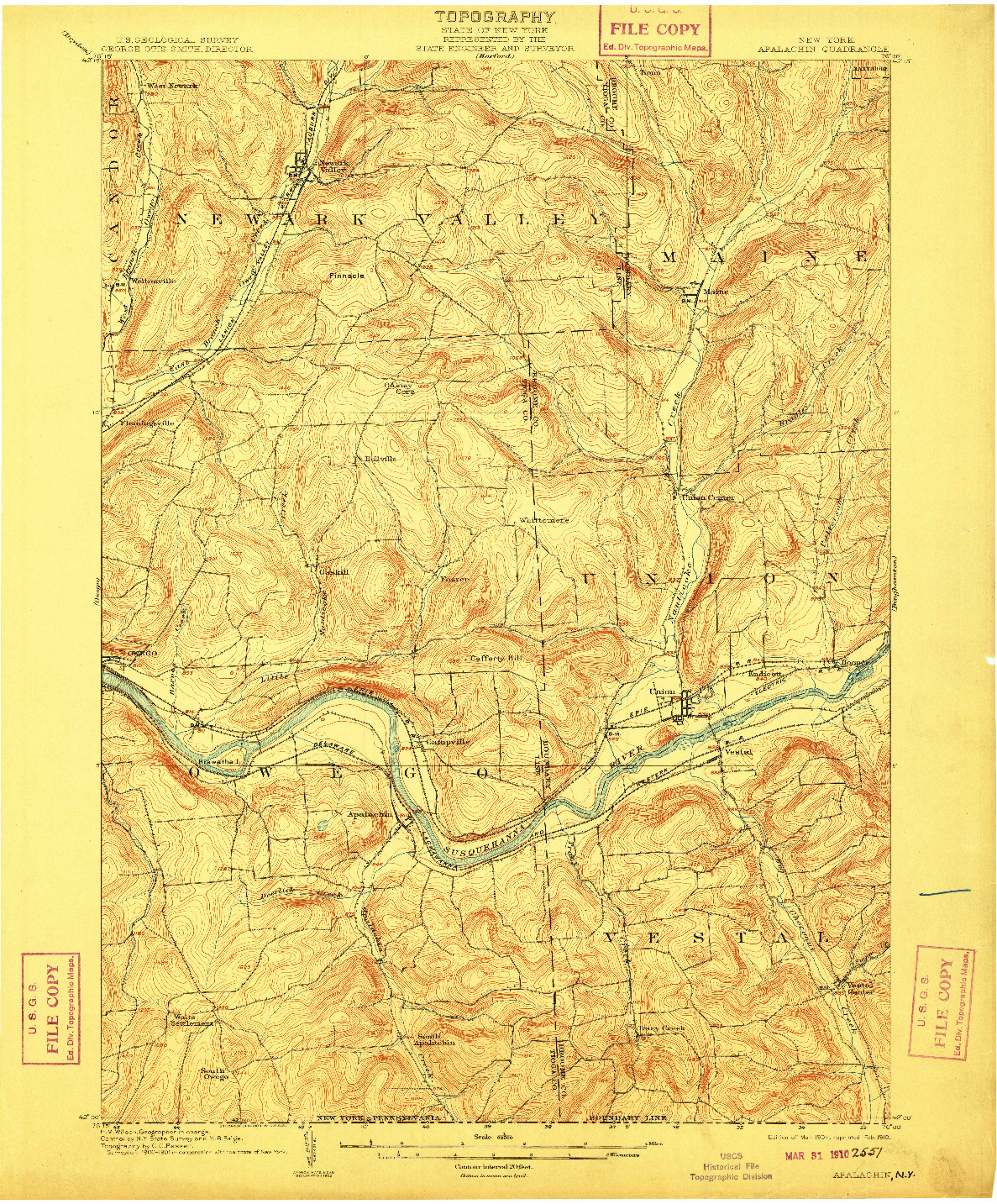 USGS 1:62500-SCALE QUADRANGLE FOR APALACHIN, NY 1904