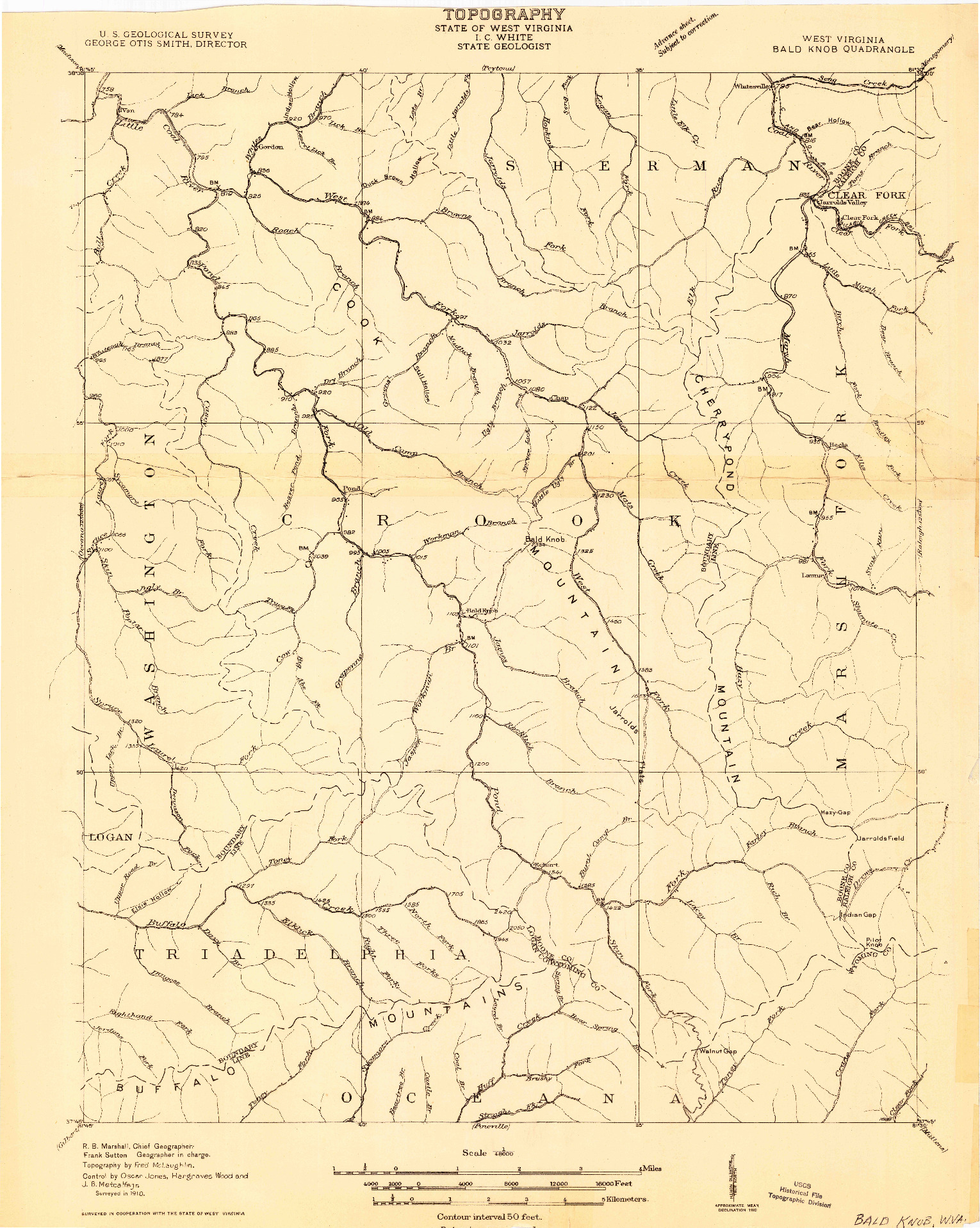 USGS 1:48000-SCALE QUADRANGLE FOR BALD KNOB, WV 1910