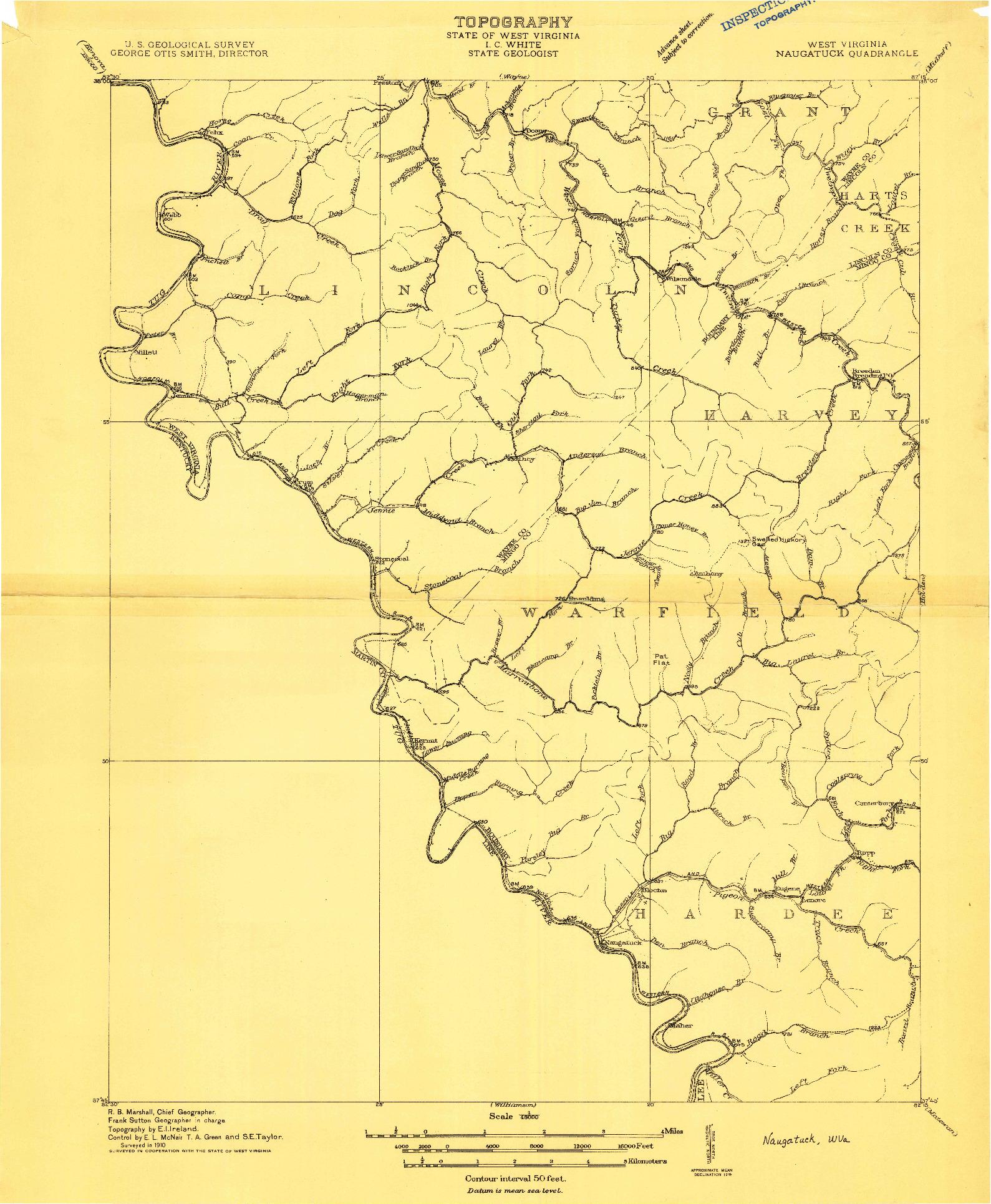 USGS 1:48000-SCALE QUADRANGLE FOR NAUGATUCK, WV 1910