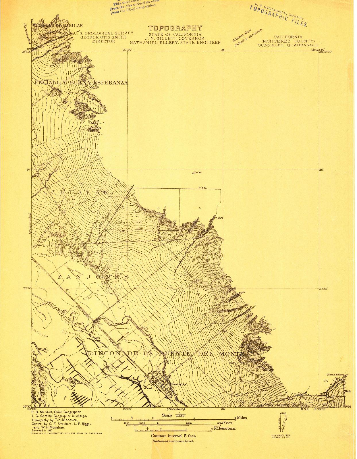 USGS 1:31680-SCALE QUADRANGLE FOR GONZALES, CA 1910