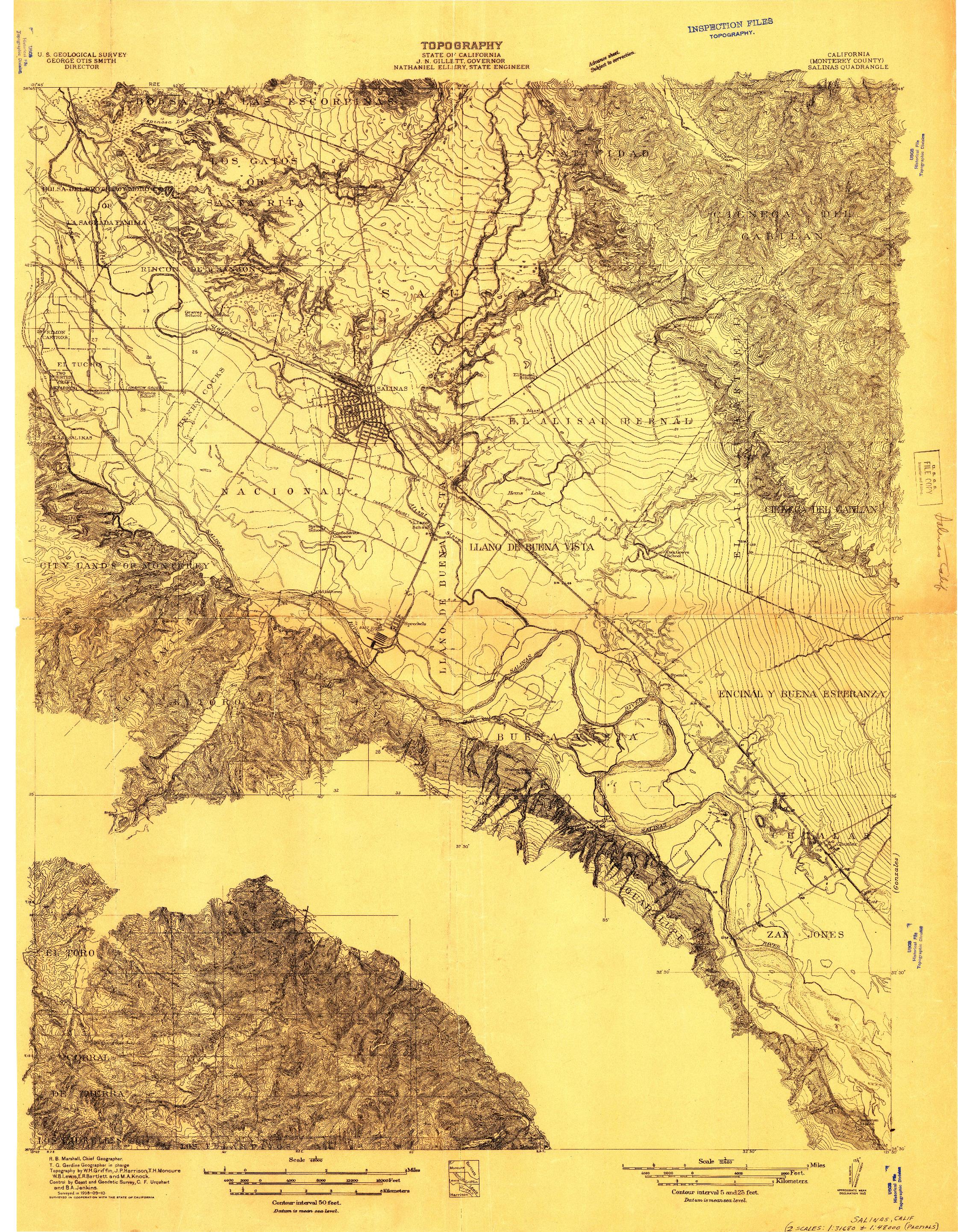 USGS 1:31680-SCALE QUADRANGLE FOR SALINAS, CA 1910