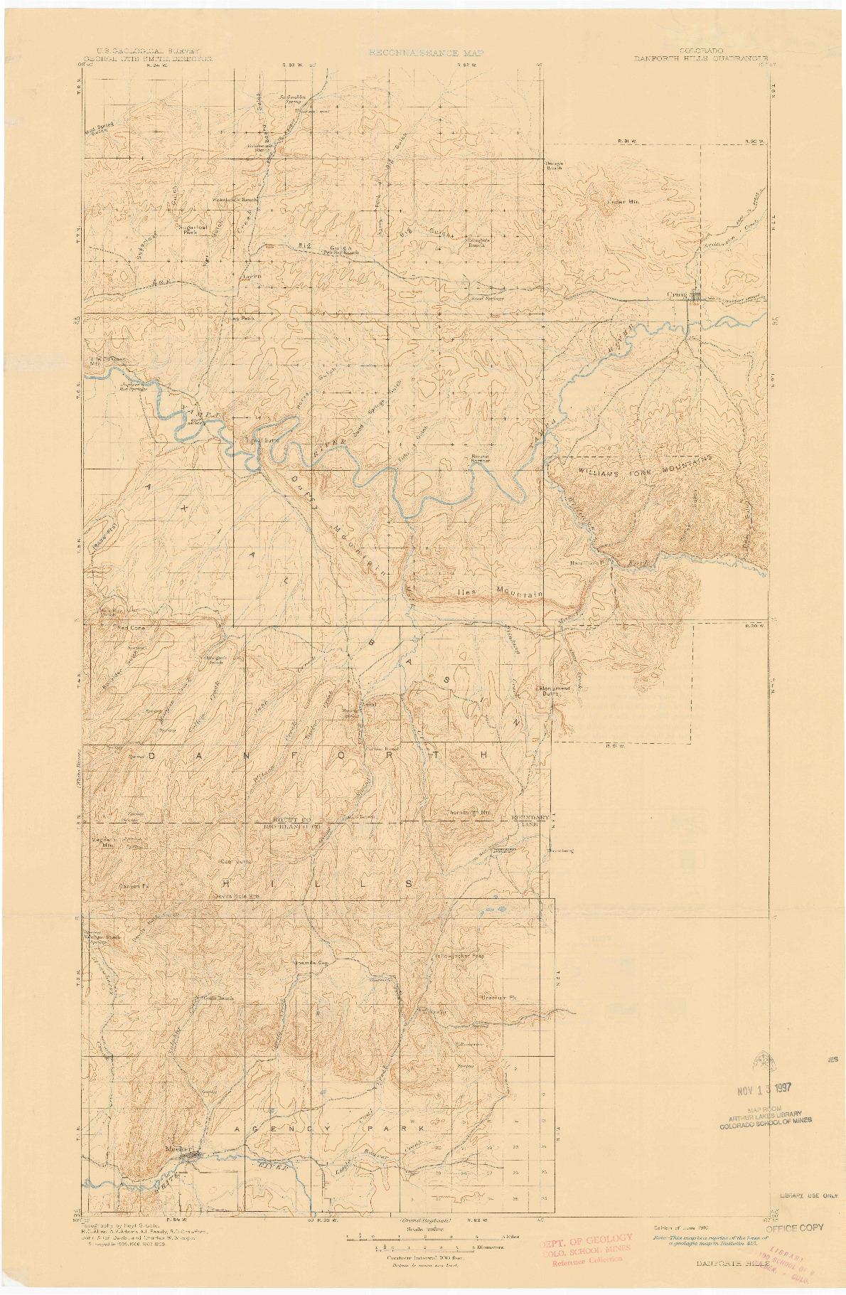 USGS 1:125000-SCALE QUADRANGLE FOR DANFORTH HILLS, CO 1910
