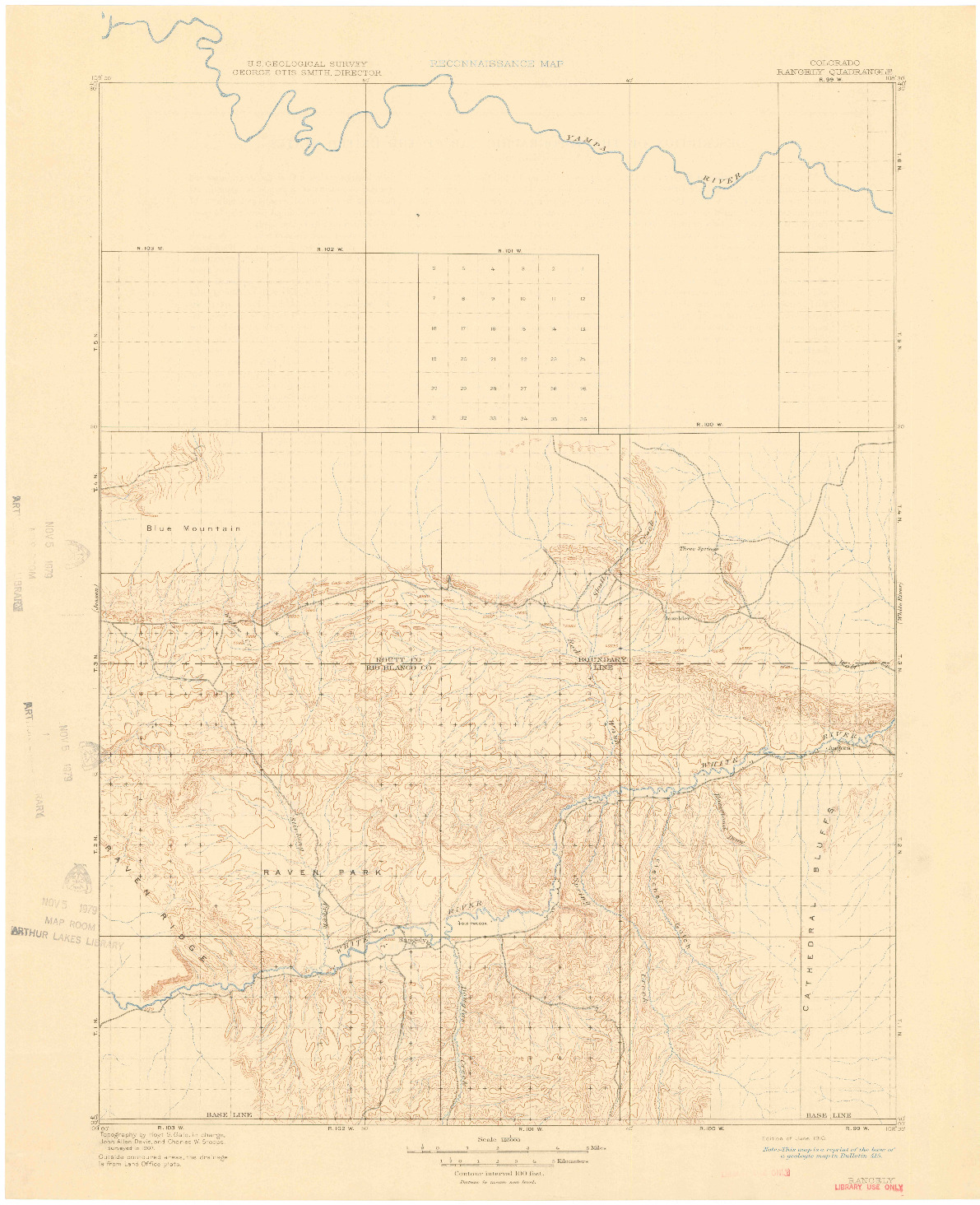 USGS 1:125000-SCALE QUADRANGLE FOR RANGELY, CO 1910