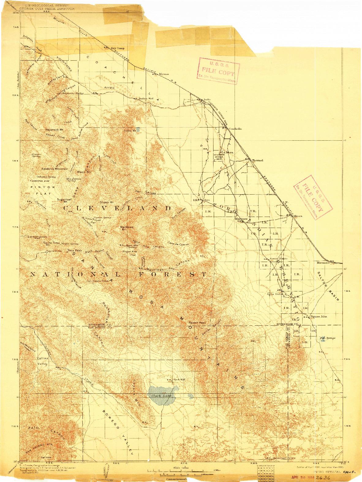 USGS 1:125000-SCALE QUADRANGLE FOR INDIO, CA 1904