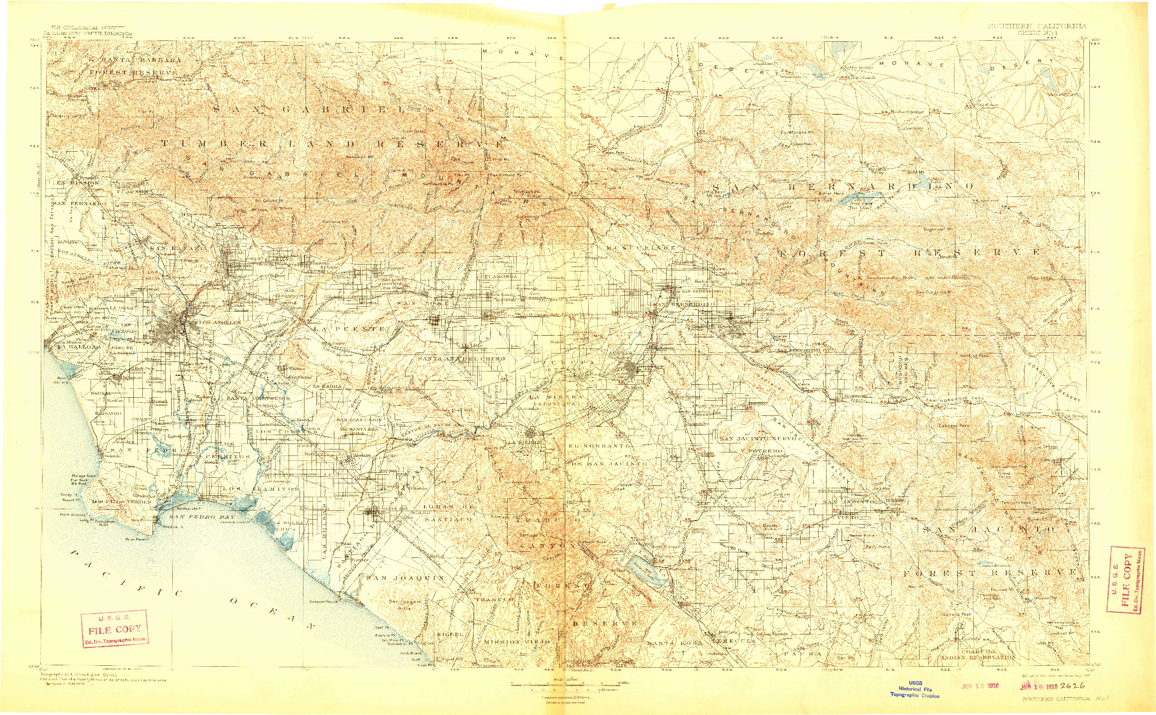 USGS 1:250000-SCALE QUADRANGLE FOR SOUTHERN CALIFORNIA SHEET NO. 1, CA 1901