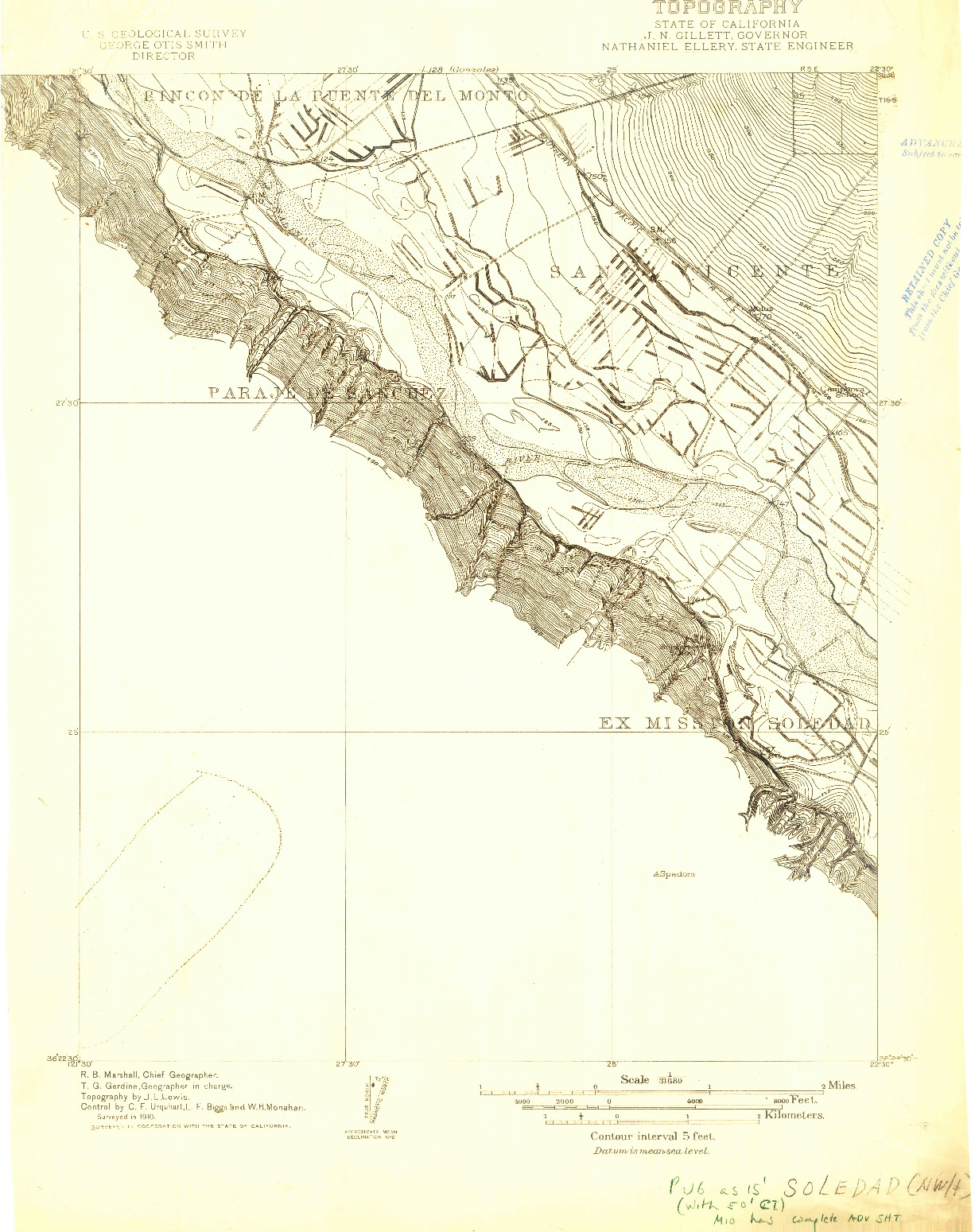 USGS 1:31680-SCALE QUADRANGLE FOR SOLEDAD, CA 1910