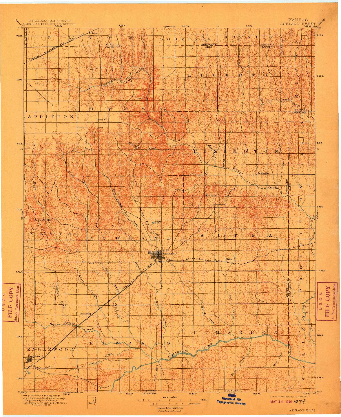 USGS 1:125000-SCALE QUADRANGLE FOR ASHLAND, KS 1896