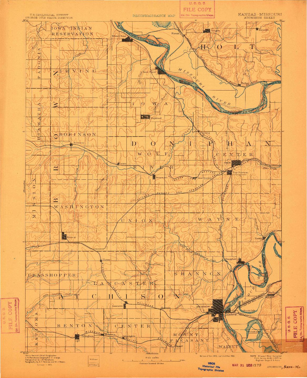 USGS 1:125000-SCALE QUADRANGLE FOR ATCHISON, KS 1893